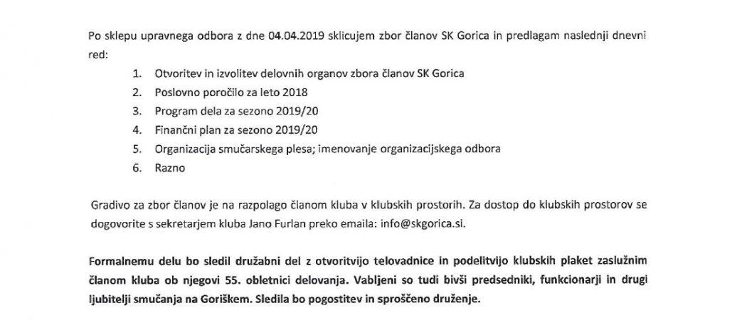 Vabilo Zbor članov SK Gorica